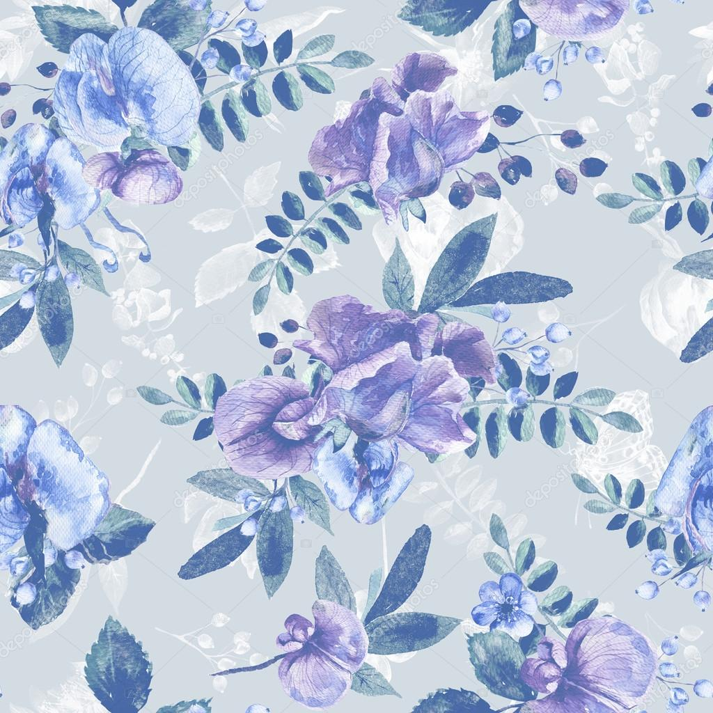 Seamless pattern with blue Sweet pea, Lathyrus odoratus, leaves.
