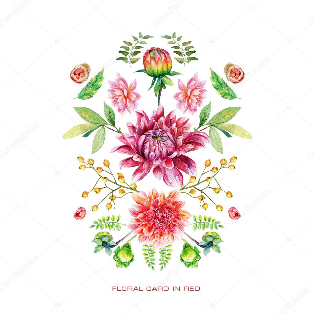 Symmetric card with red watercolor flowers.