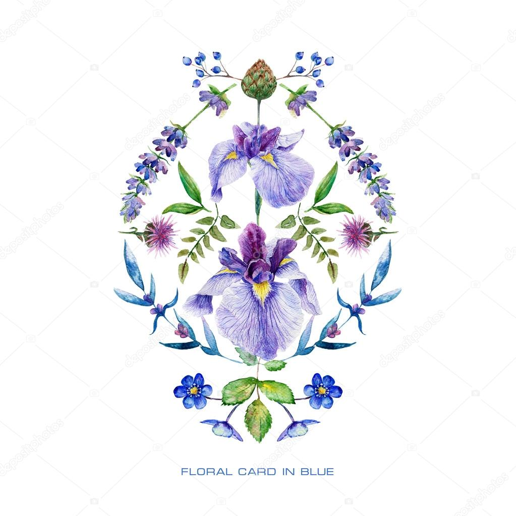Symmetric card with blue watercolor flowers.