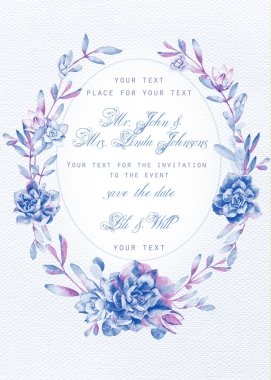 Invitation card. Watercolor blue succulents on white watercolor