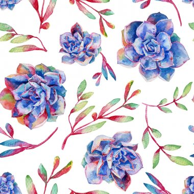 Seamless pattern with watercolor blue succulents.