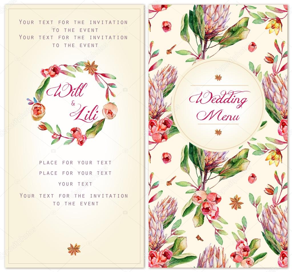 Set of templates for celebration. Watercolor illustrations  pink