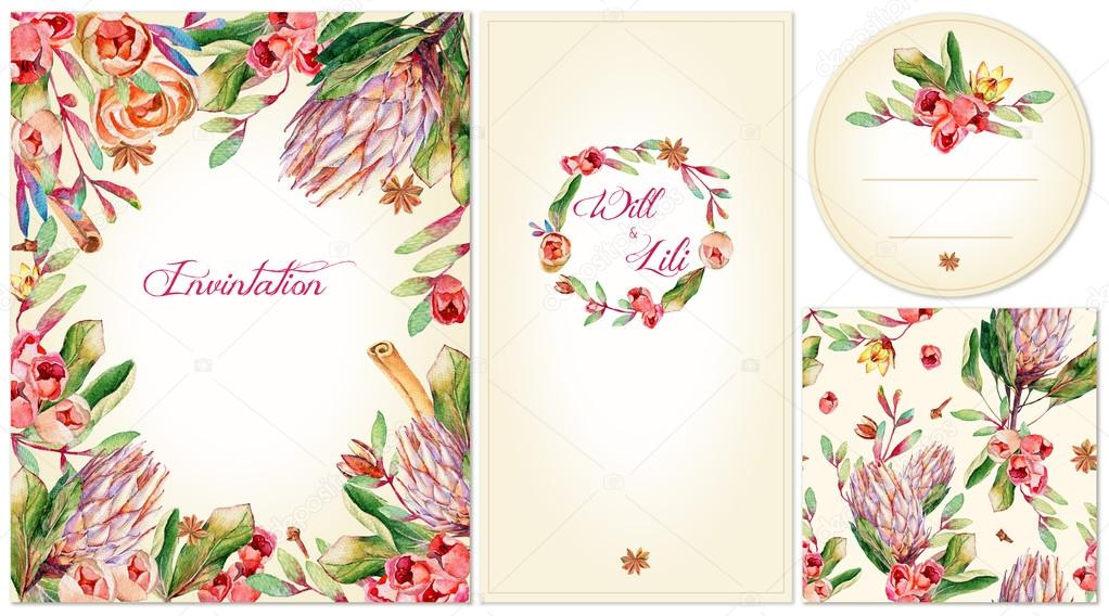 Set of templates for celebration, wedding or corporate style.
