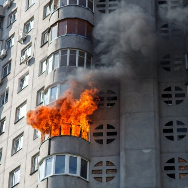 Fire in residential building