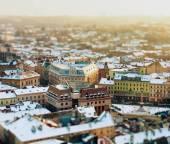 Letecký pohled na město Lvov