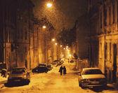 Zimní Lviv ulice v noci
