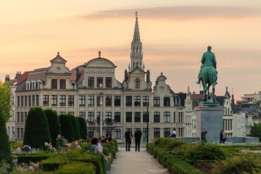 Mont des Arts gardens and City Hall of Brussels