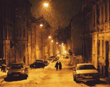 Winter Lviv street at night