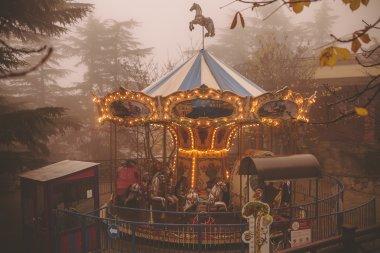 carousel in the foggy park