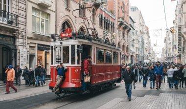 Retro tram on the Istanbul street