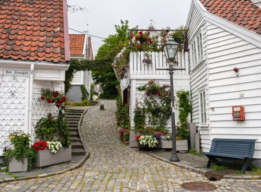 Street with white wooden houses