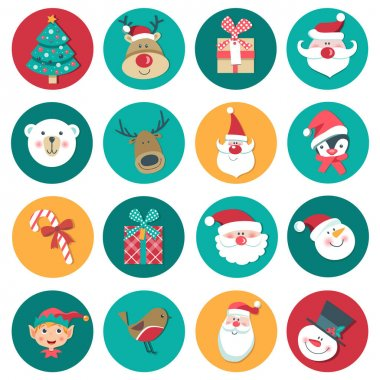 Set of vector christmas icons. Gift, deer, polar bear,santa, candle, penguin, candy,robin bird, tree and such things, isolated on the white background. icon