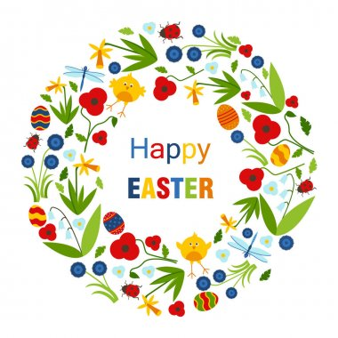 Colorful Happy Easter greeting card with rabbit, bunny and text icon
