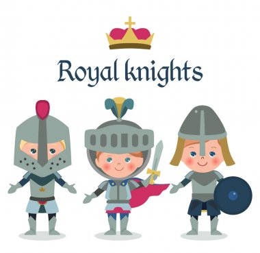 Fairy tales cartoon characters. Fantasy knight and dragon, princess and knights isolated on white. Vector icons set of fairytale elements for use in design postcards or coloring book icon