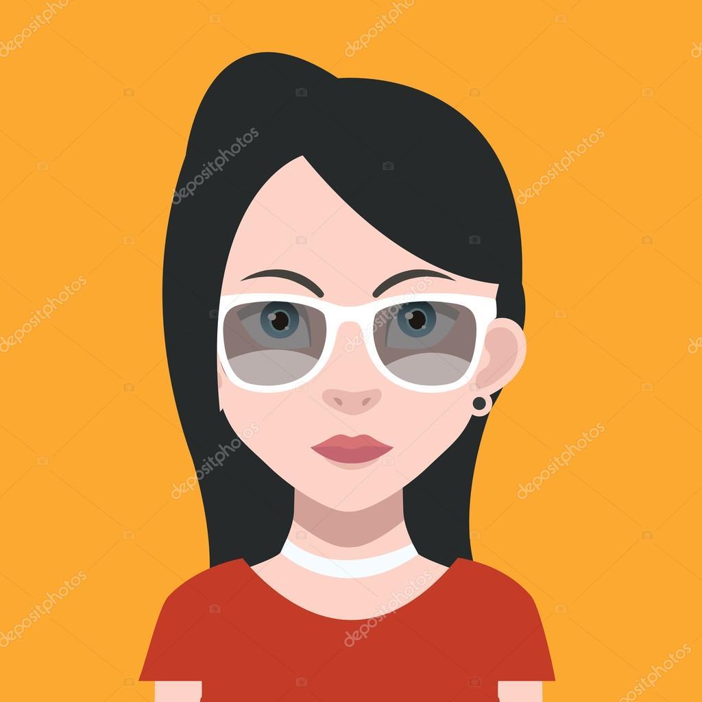 ícone De Avatar Feminino Dos Desenhos Animados