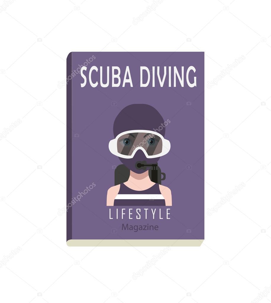 Scuba Diving Magazine Template Stock Vector
