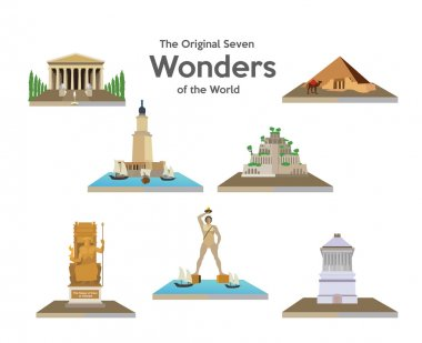 seven world wonders icons set