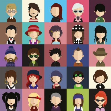 Set of 25 people icons in flat style with faces.
