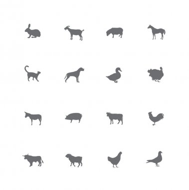 Farm animals icons set.
