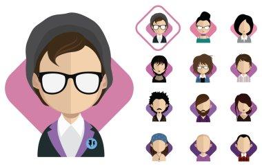 Women, men character icons