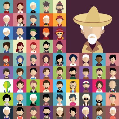 People icons in flat style with faces.