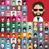 Sada ikon lidí s tvářemi