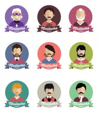 Set of people icons  with Mustache