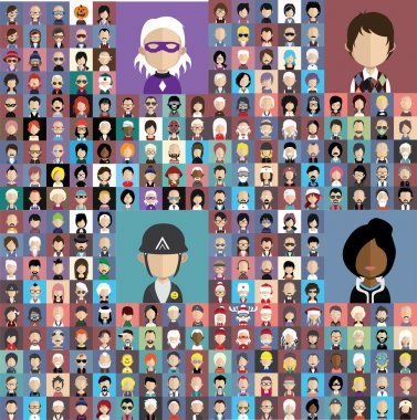 Set of people icons with faces.