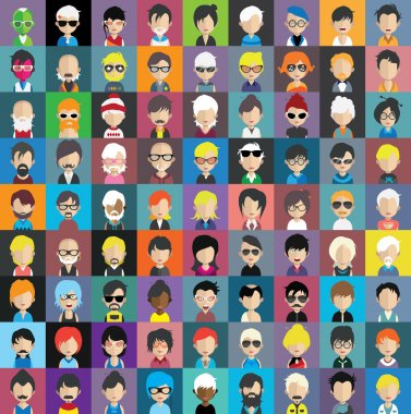Set of people avatar icons