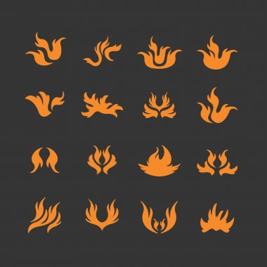 Flame, fire Icons set