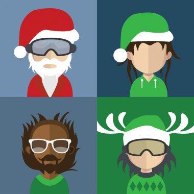 Set of Christmas People avatars
