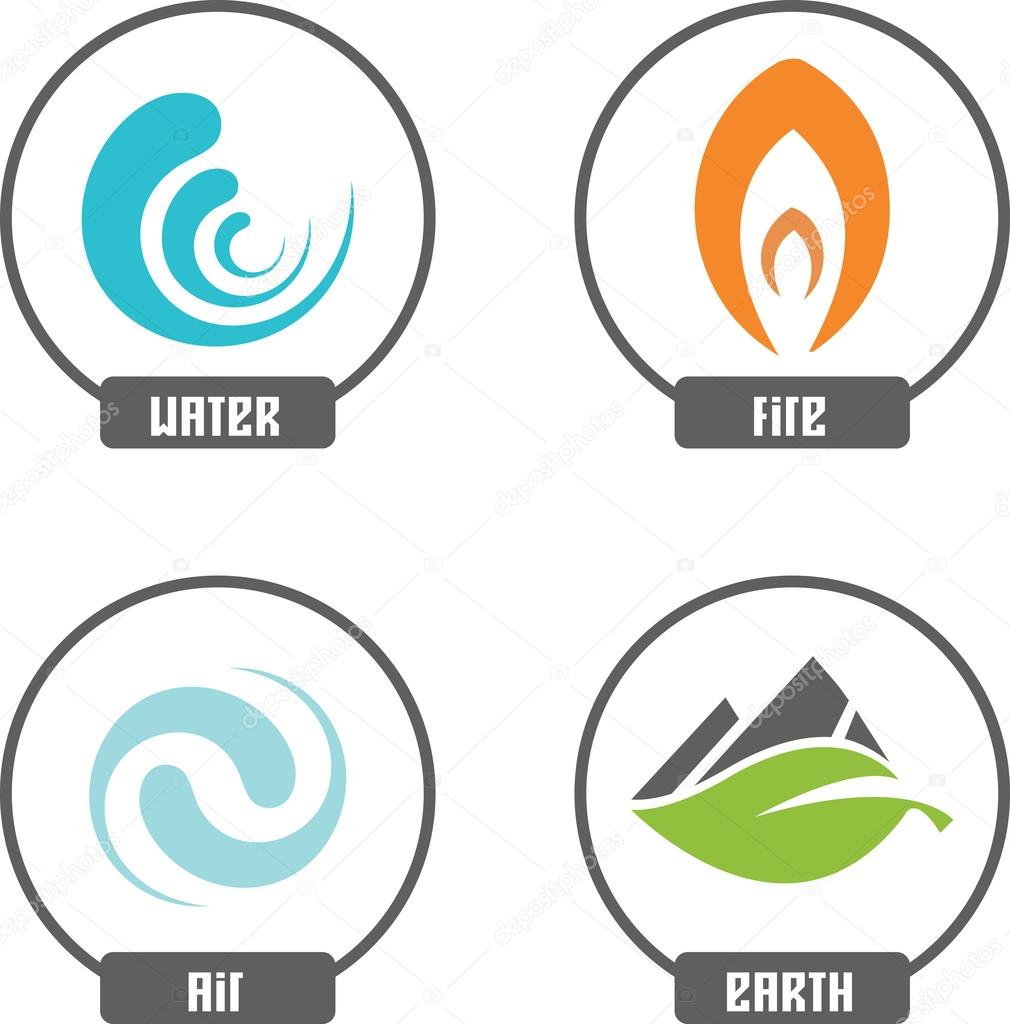 nature elements icons set