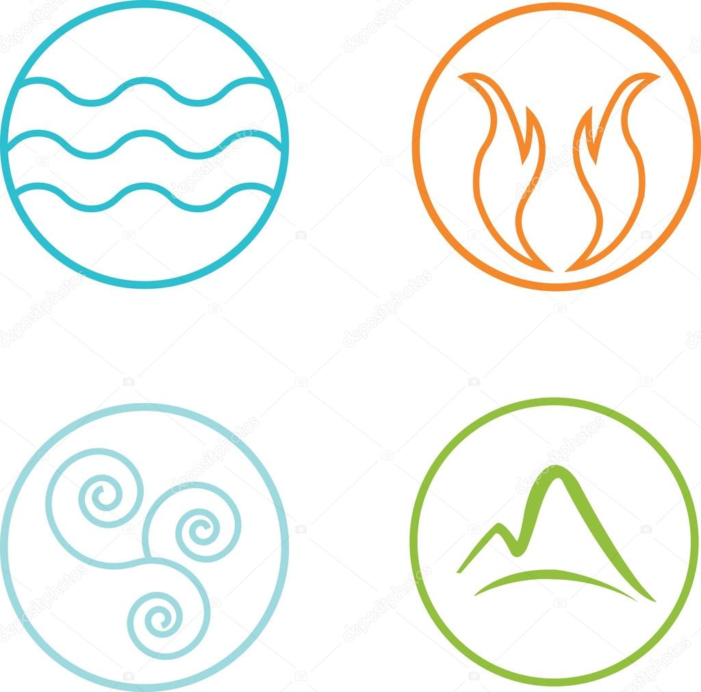 nature elements icons set