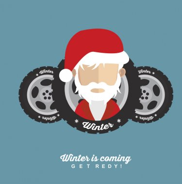 Santa Claus with winter car tires
