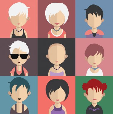 Set of female avatar icons