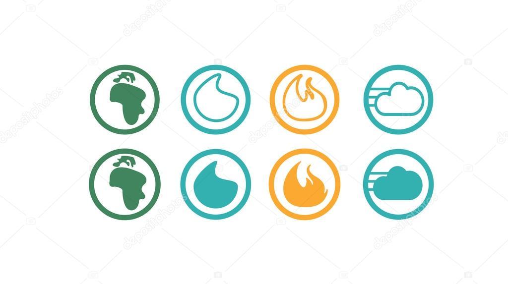 Feuer, Wasser, Luft, Boden-Symbole — Stockvektor © Sky-Designs #99495718
