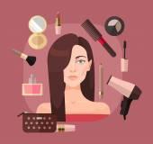Frau im Schönheitssalon. Vektorflache Abbildung