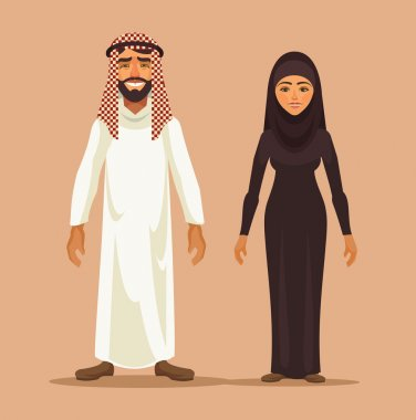 Traditional arab couple. Vector flat illustration
