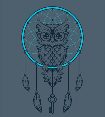 Dream-catcher owl. Vector illustration