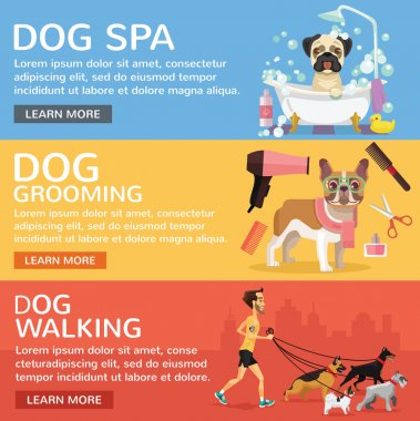 Dog service. Vector flat banners set