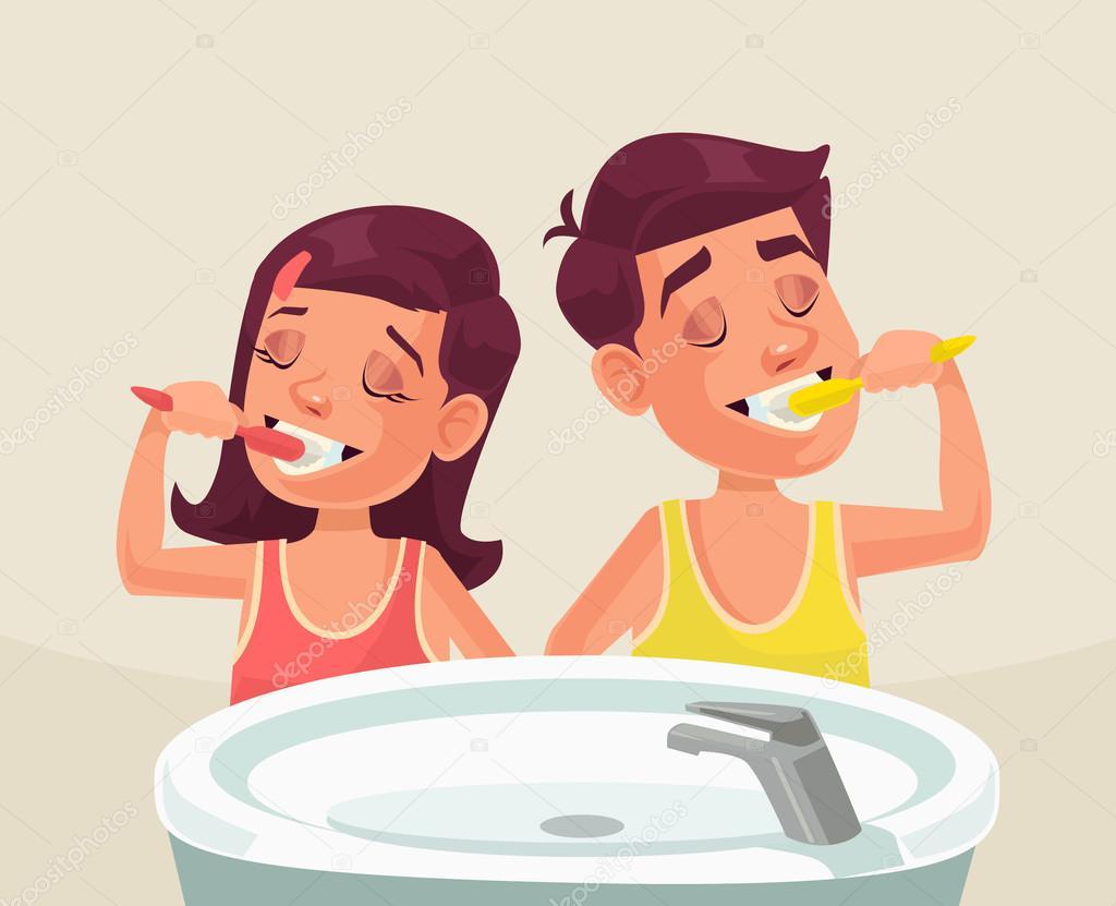 Niña Y Niño Cepillarse Los Dientes. Ilustración De