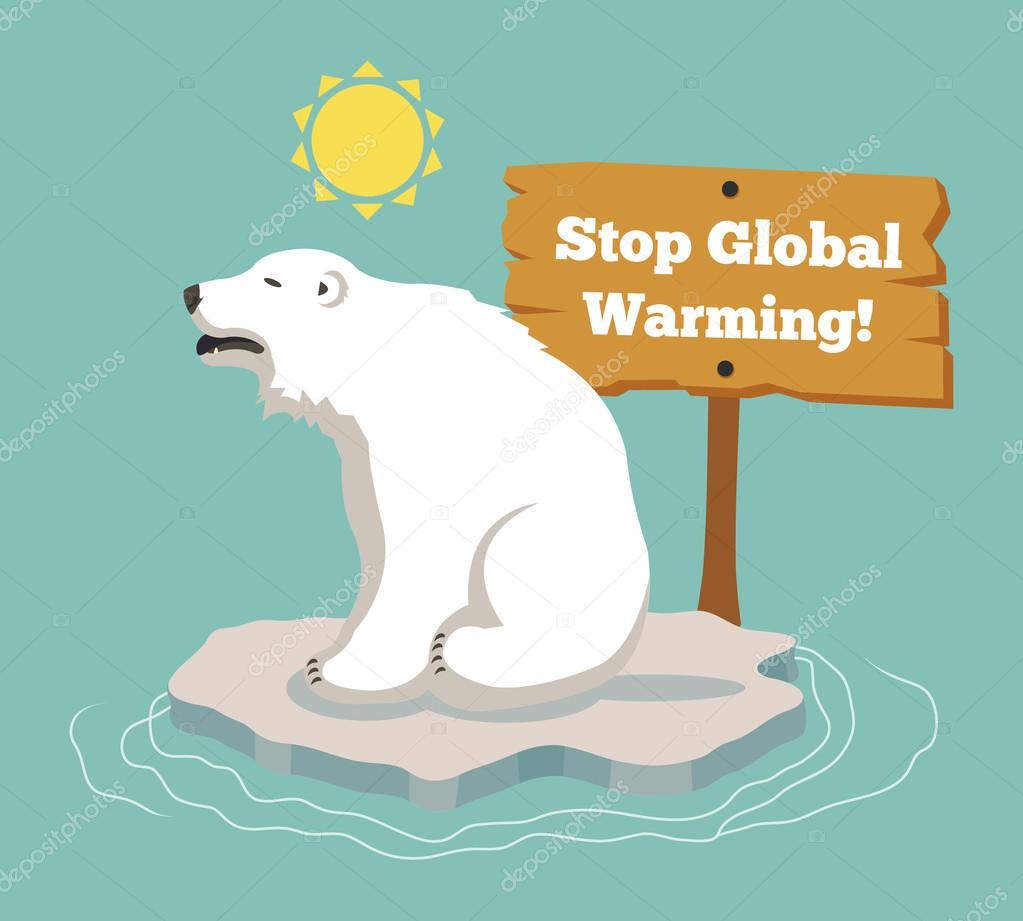 Stop global warming. Vector flat illustration