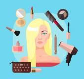 Blondine im Schönheitssalon. Vektorflache Abbildung