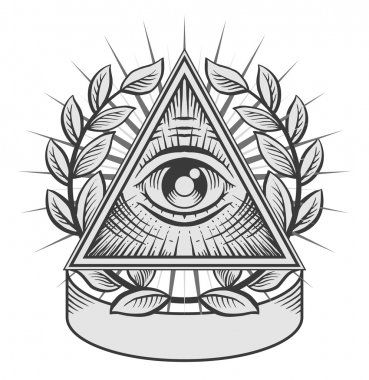 All seeing eye. Black and white vector illustration