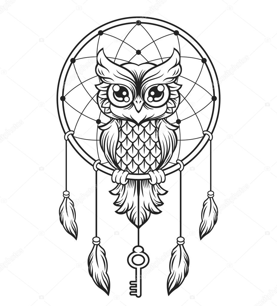 Dream Catcher Black And White Owl Vector Line