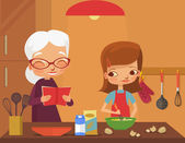 Grandmother and granddaughter cook. Vector flat cartoon illustration