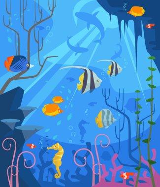 Underwater. Vector flat cartoon illustration