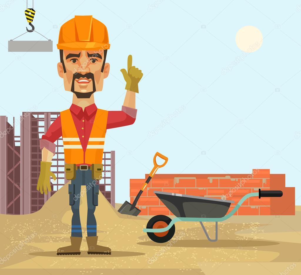 builder vector flat cartoon illustration stock vector