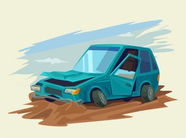 Car Accident. Vector flat illustration
