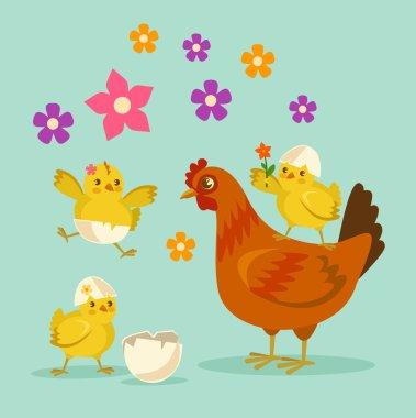 Cute cartoon chicken mother and kids. Vector flat cartoon illustration
